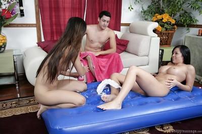 Two Asian babe Mia Lelani and Mia Smiles deliver sexy massage