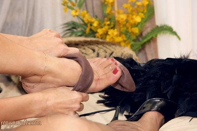 Fervent mature Roni stripped from lingerie and gagged with stockings