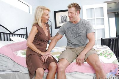 Busty mature Erica Lauren takes a huge cock deep under her skirt
