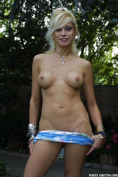 Blonde Alex Dane demonstrate her pretty sexy juicy booty in the garden