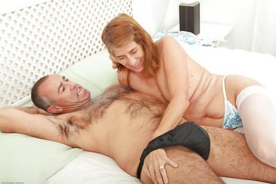 Horny aged woman Meg taking internal cumshot in granny pussy