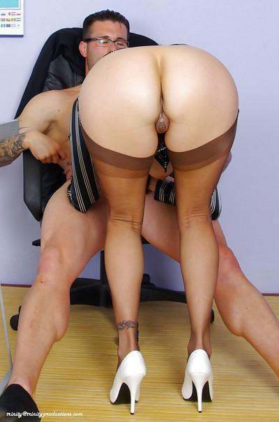 Horny mature secretary sucks and fucks a hard cock in the office