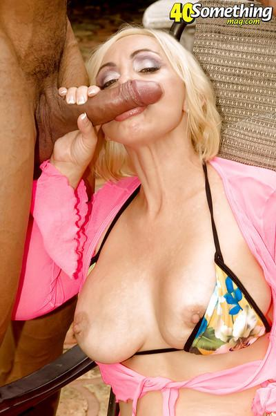 Mature blond hottie Raquel Sieb gets nailed on a cock at the pool