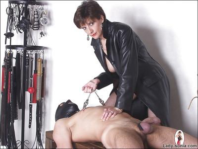 Naughty femdom torturing her male pet