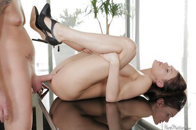 Leggy mature woman Kitana Lure taking hardcore anal sex on office desk