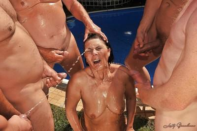 Kinky mature lady gets blowbanged and pissed on by horny guys