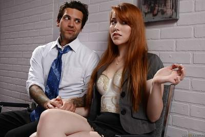 Barely legal redhead secretary learns how to give blowjob from co-worker