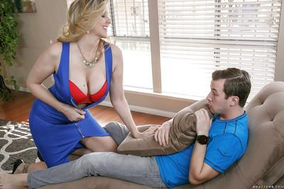 Chesty blonde pornstar Julia Ann gives a CFNM blowjob to younger man