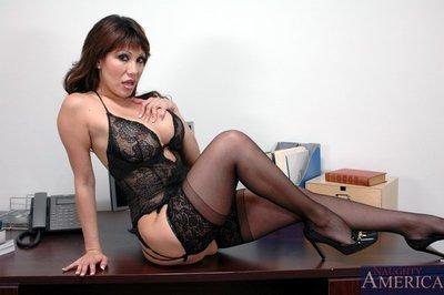 Busty mom in lace lingerie and sexy cutie fucked hardcore in the office