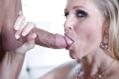 Horny as fuck mature blonde Julia Ann gets cum in her mouth!