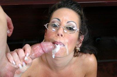 Mature teacher in glasses Anjelica Lauren fucking in fishnet stockings