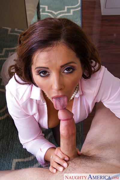 Mature brunette Francesca Le is getting sperm on her full lips