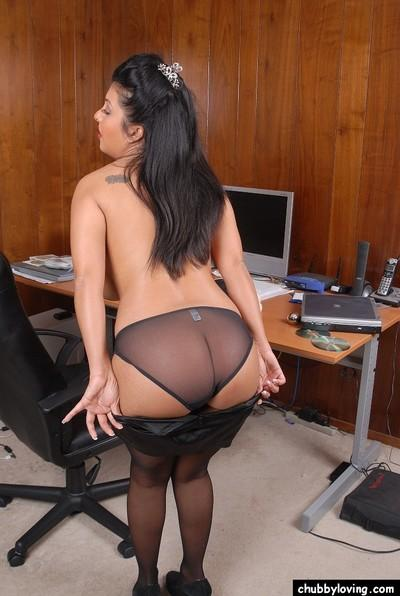 Fatty Asian mature Holly Taylor takes off her sexy secretary outfit