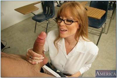 Sexy mature in glasses Darla Crane seducing her student for steamy sex