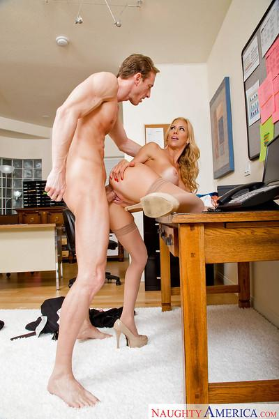Experienced blonde woman Alexis Fawx having her pussy licked out on desk