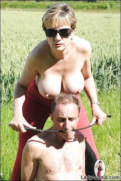 Mature femdom tortures her manslave