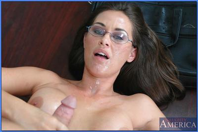 Mature teacher in glasses Simone Riley stripped to stockings and banged