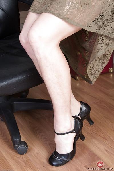 Older secretary Sunshine has quite the hairy vagina underneath skirt