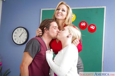 Mature teacher Julia Ann and pupil Miley May fuck and suck young dude