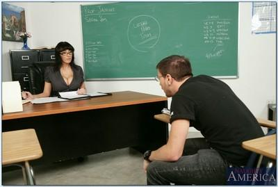 Busty MILF teacher in glasses Alia Janine goes naughty with her student