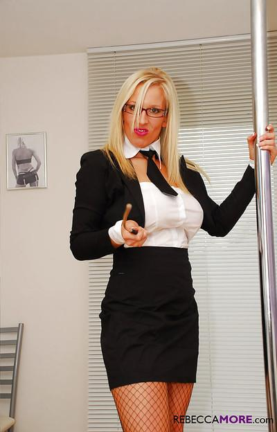 Very classy blonde mature secretary took her clothes off and showed us her big tits and fantastic piece of ass.
