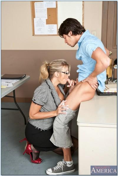 Blonde mature teacher with glasses Jezebel Jones fucks in reality porn