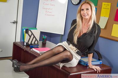 Blonde teacher Brooke Tyler shows her office with naked boobies