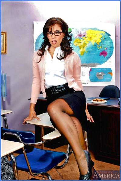 Raunchy teacher in glasses strips from lacy underwear and fingering ass