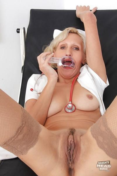 Great blonde MILF is a hardcore nurse with a tight pussy