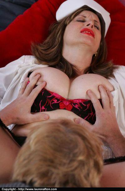 Mature babe in nurse uniform face sitting a guy and getting her pussy licked