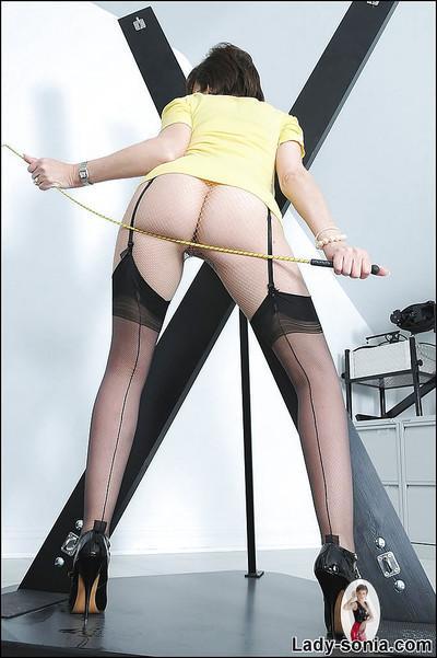 Naughty femdom in pantyhose under stockings teasing her gash
