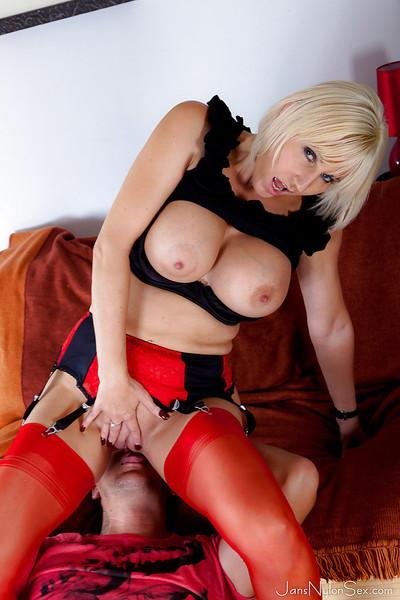 Big busted mature slut in red stockings gets her pussy licked and nailed