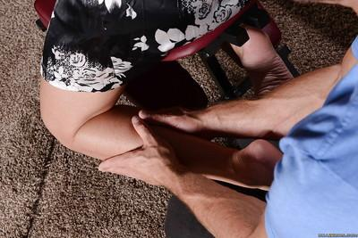 Simone Sonay is enjoying a perfect massage from her strong masseur