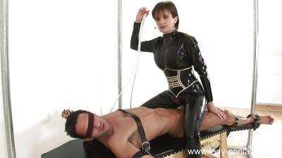 Naughty femdom changes her clothes while pleasing her male pet