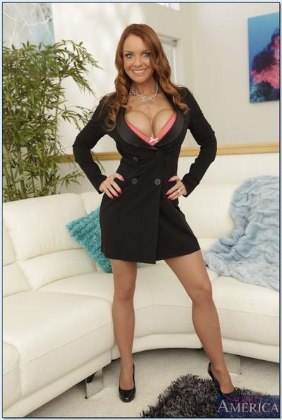 Gorgeous mature teacher Janet Mason squeezes her big tits and ass