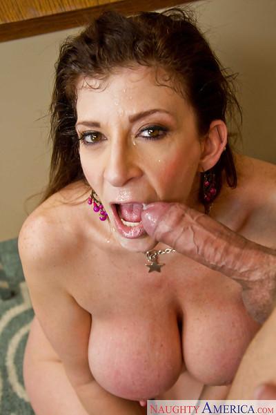 Mature teacher Sara Jay is sucking her stud