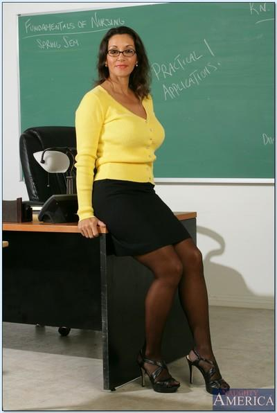 Mature teacher in glasses Persia Monir demonstrating hairy pussy