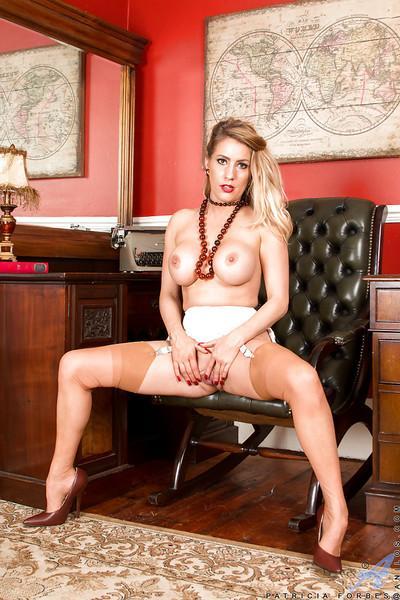 Older blonde MILF Patricia Forbes flashing vintage lingerie
