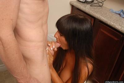 Older hot woman Cassidy eating jism after taking cumshot on large breasts