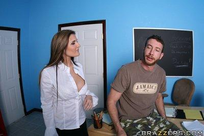 Mature teacher craving for sex Austin Kincaid gets a huge cock to fuck