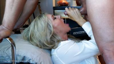 Sassy blonde housewife pleases a hard cock for a sticky cumshot on her face