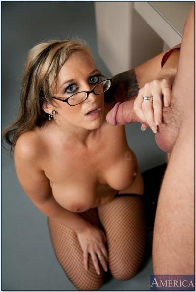 Strict teacher in glasses Shay Morgan takes cock in her mature pussy