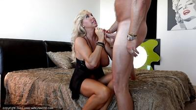Slender housewife blonde Sandra Otterson is giving a deepthroat