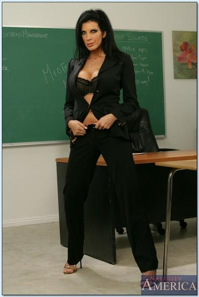 Hot mature teacher Shay Sights brings out her huge juggs in the class