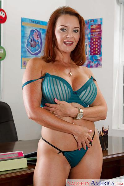 Chubby redhead teacher Janet Mason stripped down to bra and underwear
