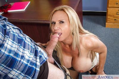 Mature teacher Brooke Tyler is giving a juicy deep blowjob on cam