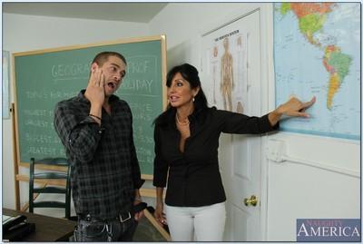 Slutty teacher Tara Holiday gets blowbanged and fucked hardcore