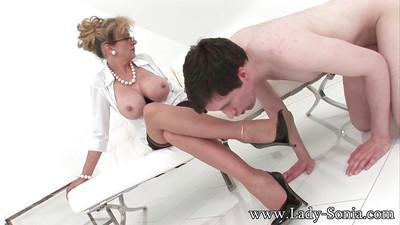 Adorable mature fetish babe Sonia has a great time with her boy