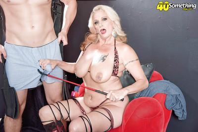 Pierced over 40 blonde wife Brooklynn Rayne giving femdom handjob