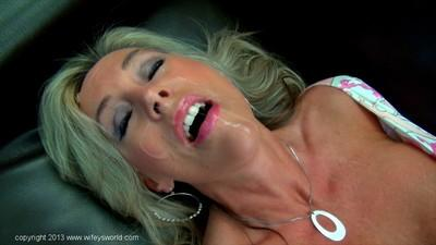 Top-heavy mature knockout goes down on a stiff dick and gets facialized